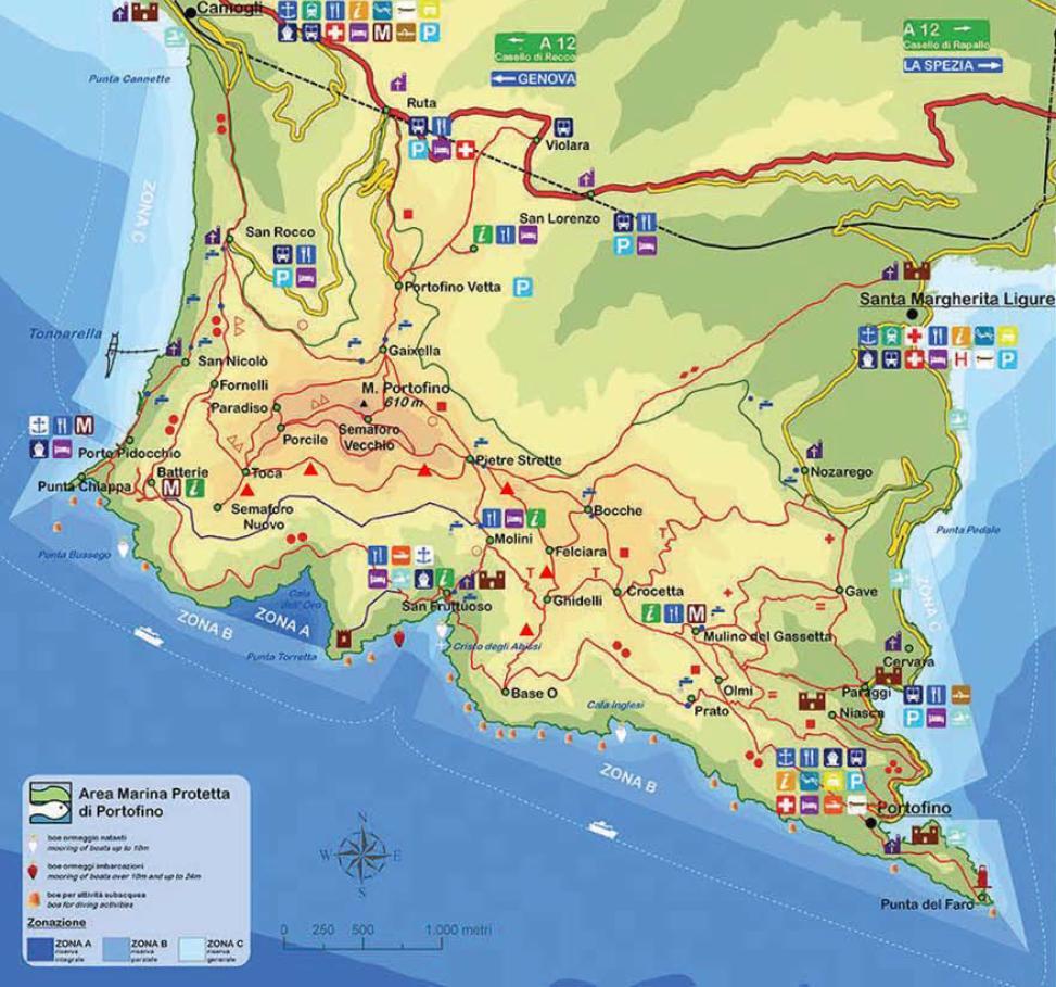 mapa ścieżek na terenie Parku Naturalnego w Portofino
