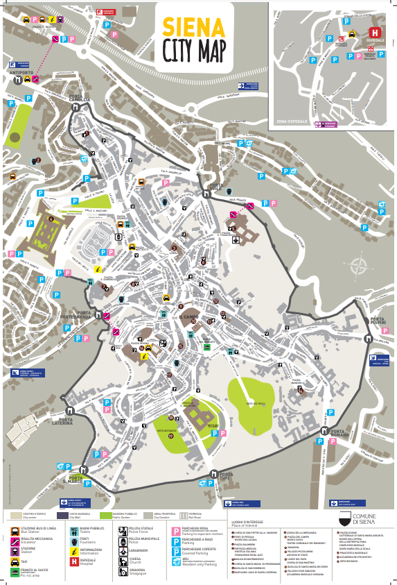 Siena - plan miasta / mapa Sieny
