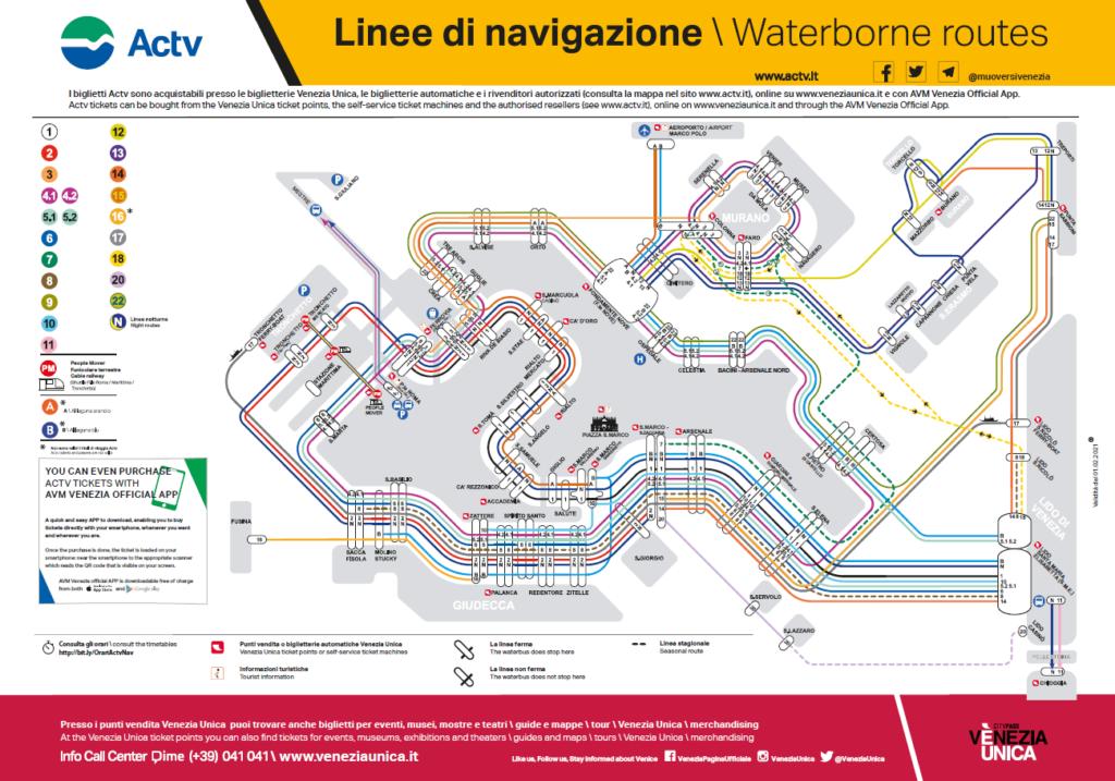 Tramwaje wodne w Wenecji, aktualna mapa linii komunikacji miejskiej w Wenecji, stan na luty 2021 r.