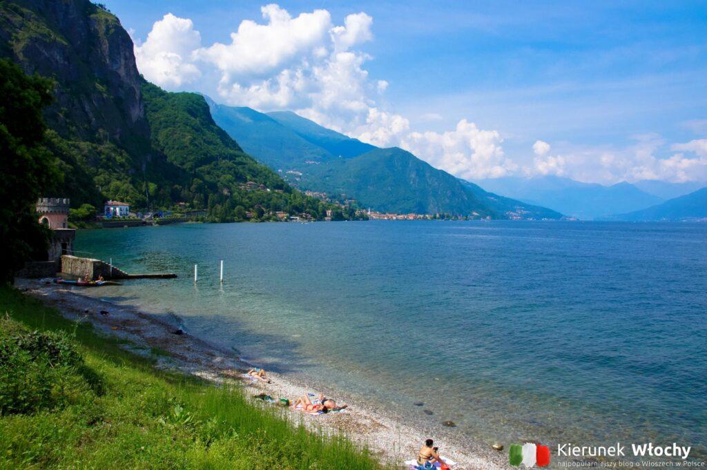 jedna z plaż w Griante – Cadenabbia, Włochy (fot. Łukasz Ropczyński, kierunekwlochy.pl)