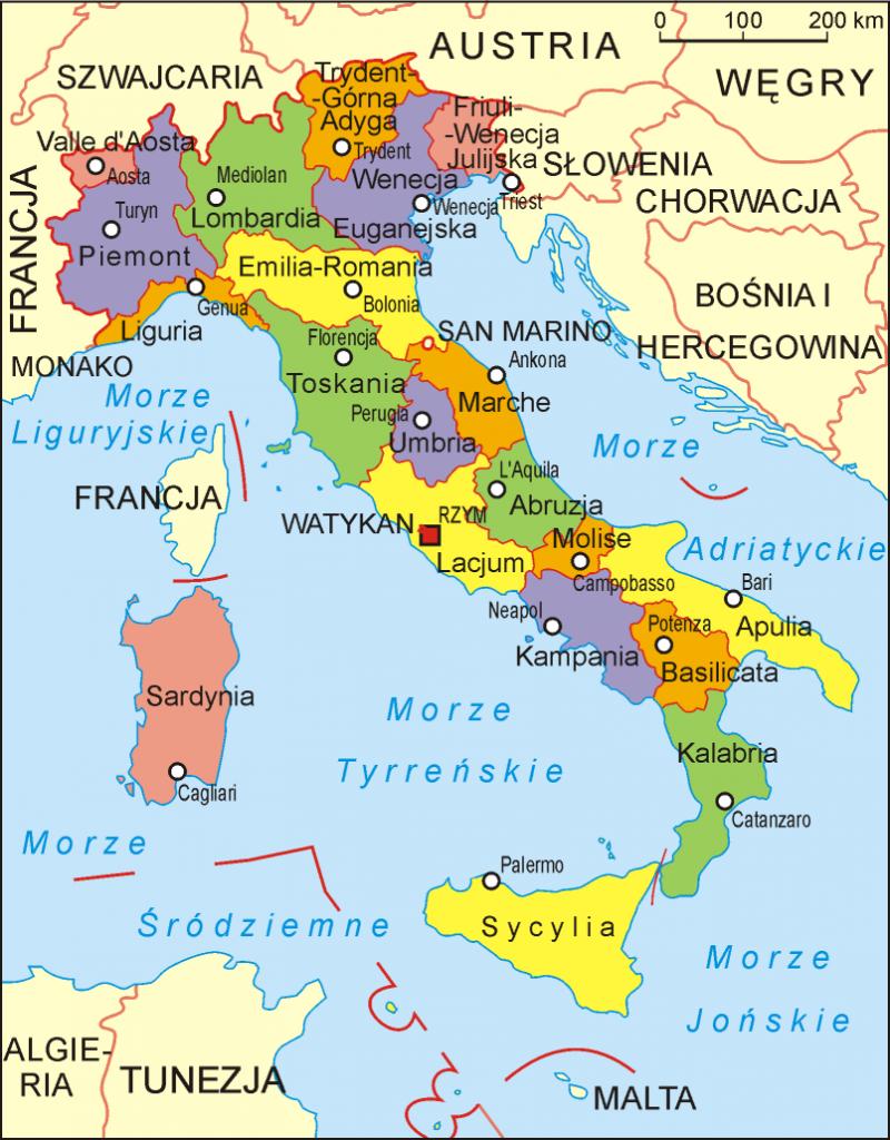 Włochy mapa regionów, regiony Włoch (źródło: Wikipedia, Aotearoa)