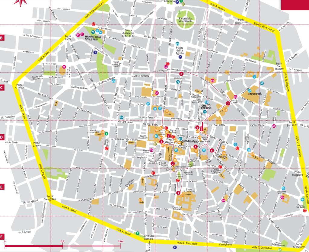 Bolonia - turystyczna mapa miasta
