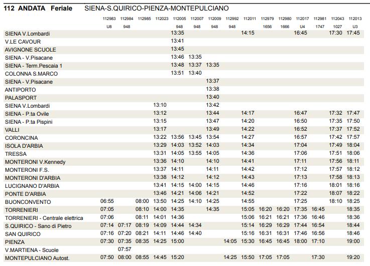 Linia 112 - Siena – S. Quirico – Pienza – Montepulciano, rozkład jazdy