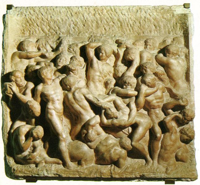Michał Anioł, Bitwa Centaurów, 1490-1492, Casa Buonarroti, Florencja