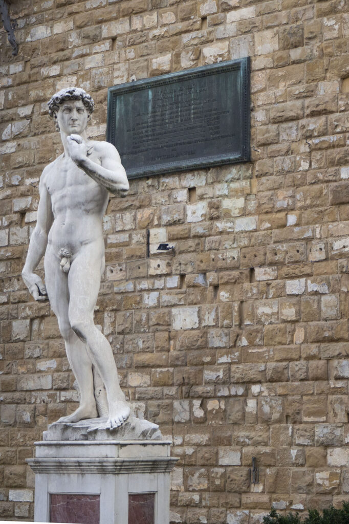 Kopia rzeźby Dawida Michała Anioła stojąca na Piazza della Signoria, polski przewodnik po Florencji