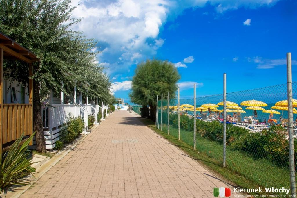 alejka pomiędzy domkami, a plażą, kemping nad Adriatykiem Girasole Eco Family Village, Włochy(fot. Łukasz Ropczyński, kierunekwlochy.pl)