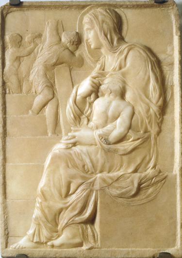 Michał Anioł Buonarroti, Matka Boska przy Schodach, ok. 1491, Casa Buonarroti, polski przewodnik po Florencji