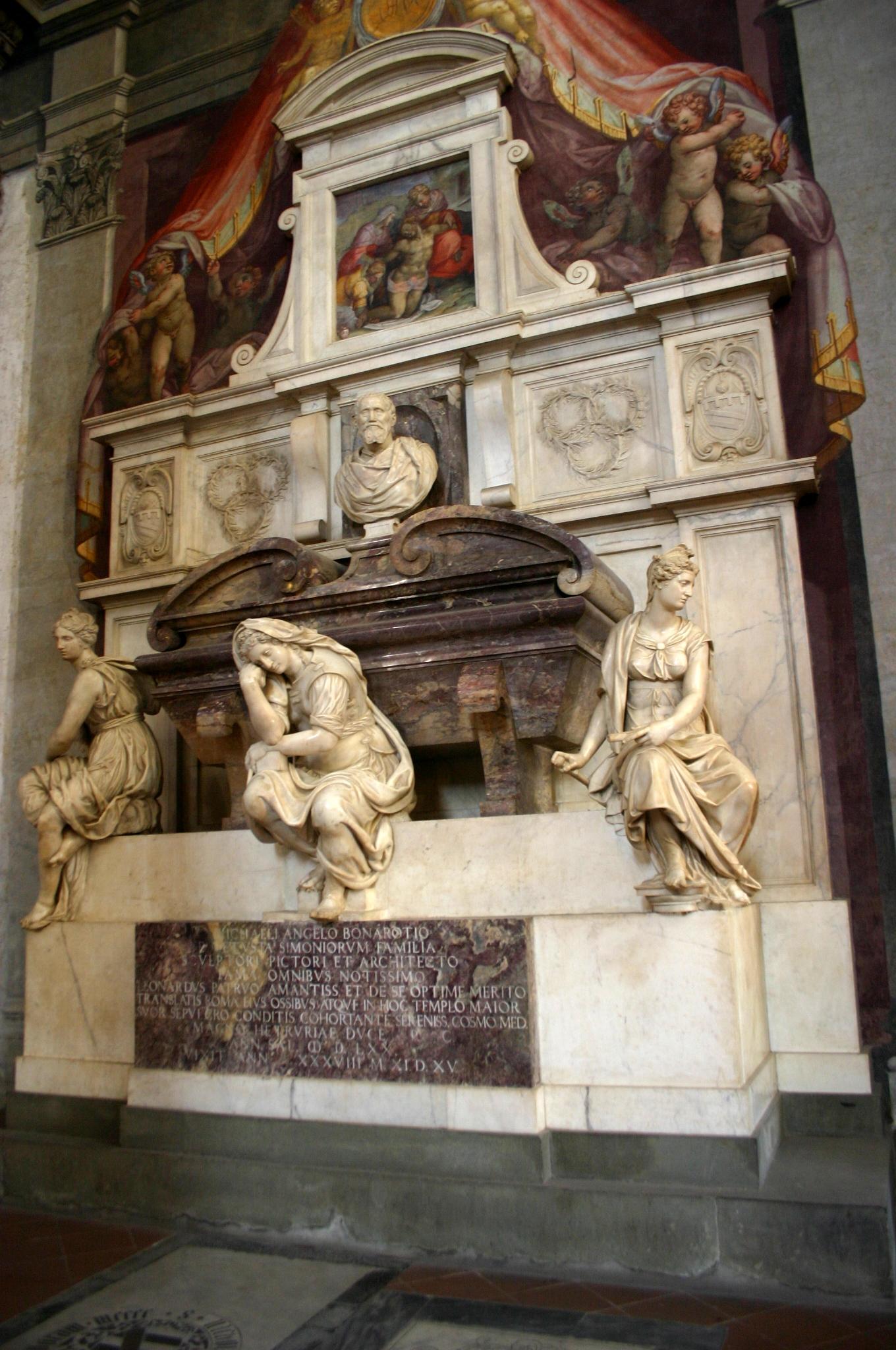 Giorgio Vasari, Nagrobek Michała Anioła w Bazylice Santa Croce we Florencji, 1564-1574. Fotografia: Giovanni dall'Orto