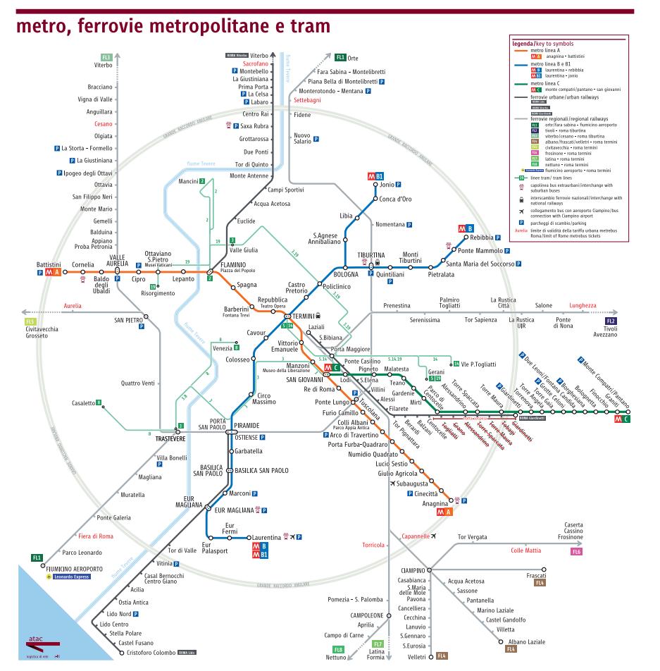 Rzym - metro i kolej podmiejska