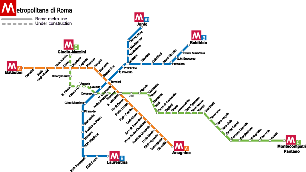 metro Rzym - mapa linii metra w Rzymie według stanu na czerwiec 2020 r.