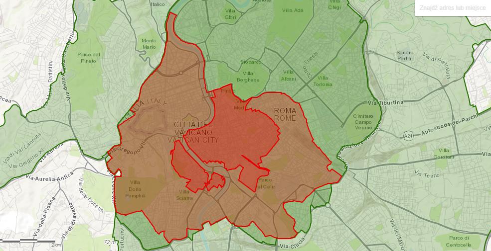 Mapa strefy ZTL w Rzymie według stanu na październik 2020 r.