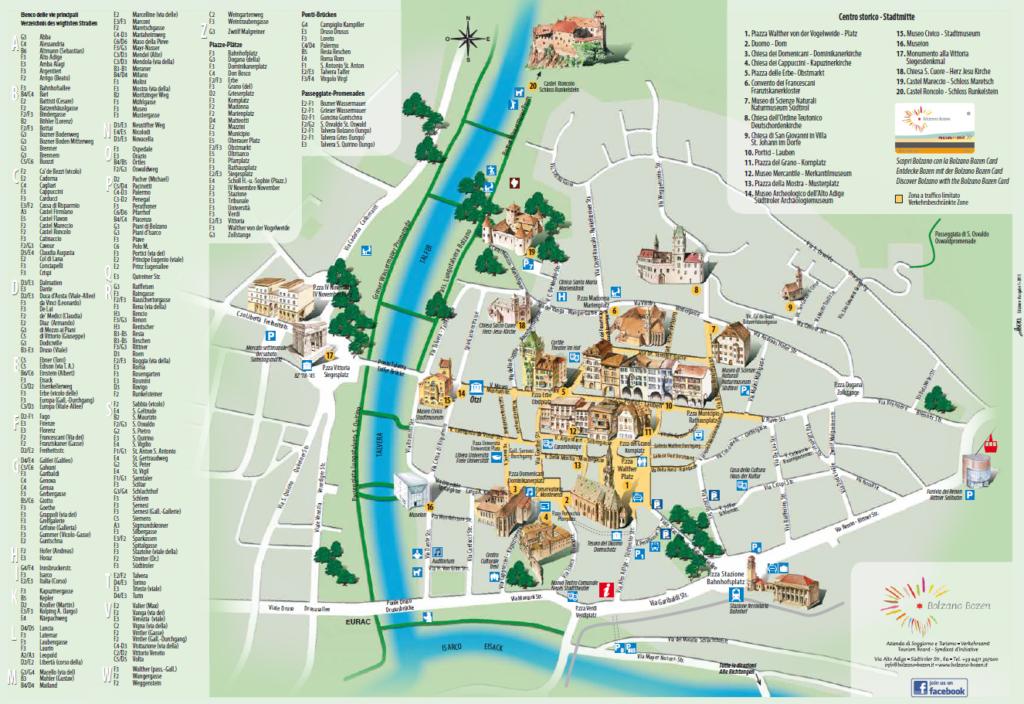 Bolzano / Bozen - mapa historycznego centrum miasta