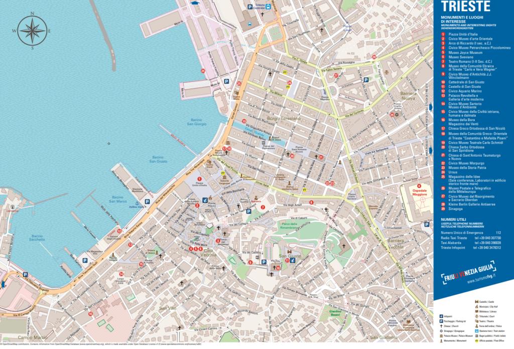 Triest - mapa centrum miasta, najważniejsze atrakcje turystyczne (źródło: FVG)
