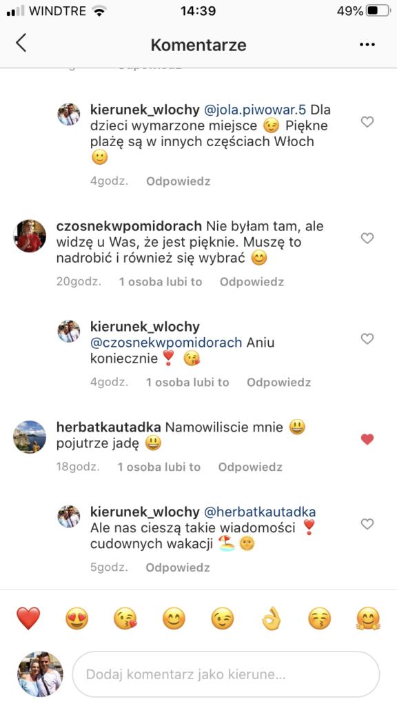reakcje na nasze rekomendacje na instagramie