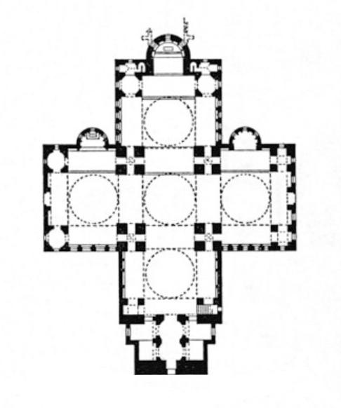 Bazylika św. Marka w Wenecji zbudowana jest na planie krzyża greckiego
