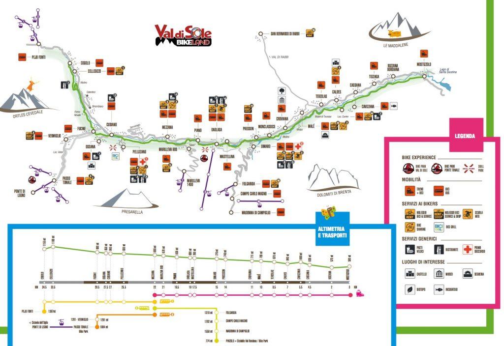 Rodzinna ścieżka rowerowa Val di Sole ciągnie się prawie w całości wzdłuż rzeki Noce, przez 35 km, od Cogolo di Pejo do Mostizzolo. Ścieżka biegnie śladem starożytnych dróg. Trasa nie jest wyzwaniem, a spadek poziomów na całej trasie wynosi 565 metrów.