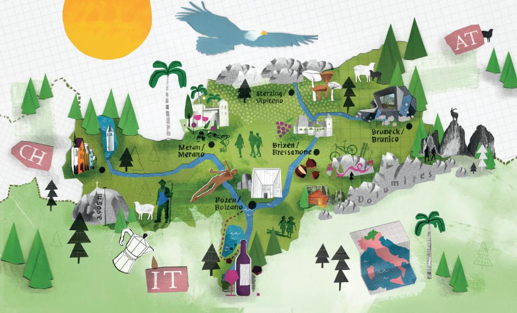 Południowy Tyrol - mapa atrakcji w regionie
